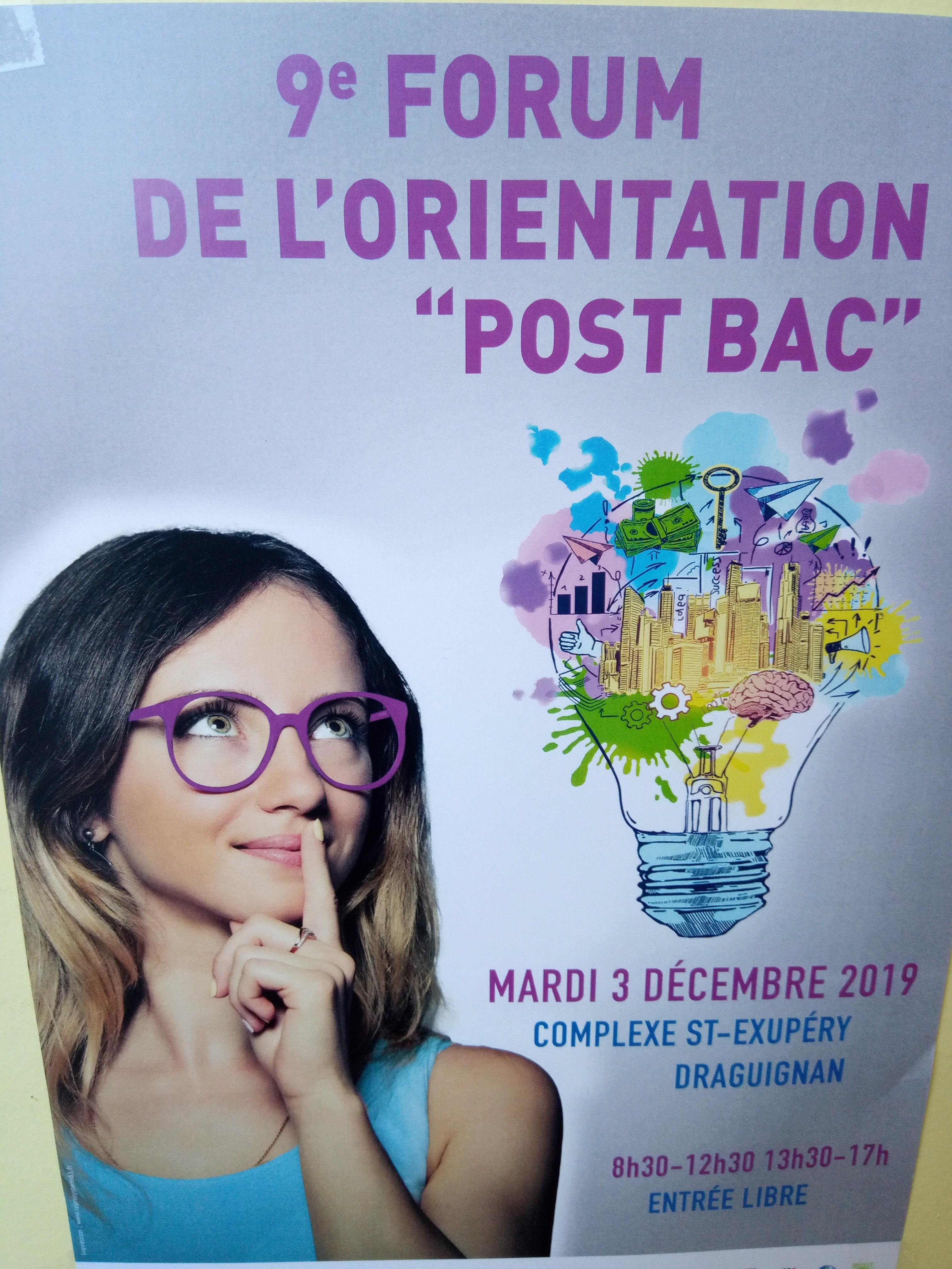 Forum de l'orientation post Bac, Draguignan, 3 décembre 2019.