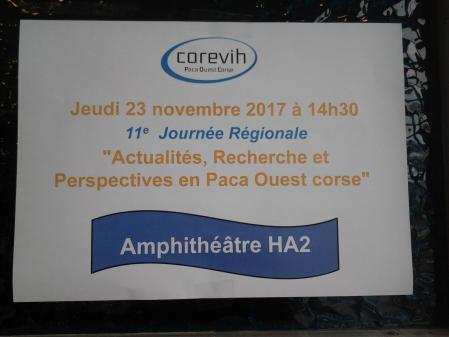 Affiche 11ème journée Régionale COREVIH PACA Ouest Corse.